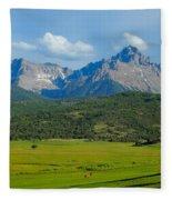 Elk Below Mount Sneffels Fleece Blanket