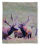 Elk On The Plains 2 Fleece Blanket