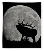 Elk Silhouette On Moon Fleece Blanket