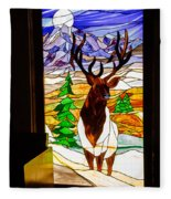 Elk Stained Glass Window Fleece Blanket