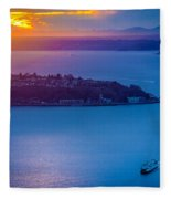 Elliott Bay Sunset Fleece Blanket