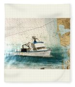Elly Crab Fishing Boat Nautical Chart Map Art Fleece Blanket