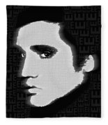 Elvis Presley Silhouette On Black Fleece Blanket