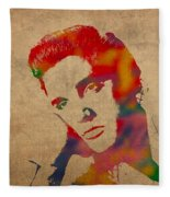 Elvis Presley Watercolor Portrait On Worn Distressed Canvas Fleece Blanket