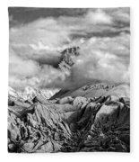 Embraced By Clouds Black And White Fleece Blanket