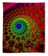 Embroidered Silk And Beads - Horizontal Fleece Blanket