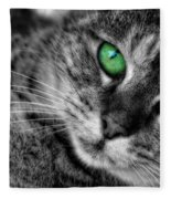 Emerald Eyes Cat  Fleece Blanket