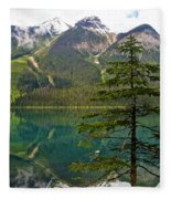 Emerald Lake Reflection And Pine Tree In Yoho National Park-british Columbia-canada Fleece Blanket