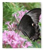 Emerald Peacock Swallowtail Butterfly #5 Fleece Blanket