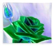 Emerald Rose Watercolor Fleece Blanket
