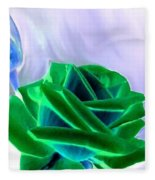 Emerald Rose Watercolor Fleece Blanket
