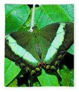 Emerald Swallowtail Butterfly Fleece Blanket