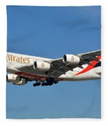 Emirates Airbus A380-861 A6-eeo Los Angeles International Airport January 19 2015 Fleece Blanket
