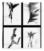 Emotions In Black - Abstract Quad Fleece Blanket