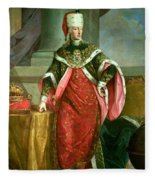 Emperor Francis I 1708-65 Holy Roman Emperor, Wearing The Official Robes Of The Order Of St. Stephan Fleece Blanket