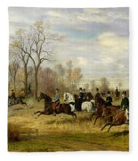 Emperor Franz Joseph I Of Austria Hunting To Hounds With The Countess Larisch In Silesia Fleece Blanket