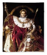 Emperor Napoleon I On His Imperial Throne Fleece Blanket