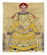 Emperor Qianlong In Old Age Fleece Blanket