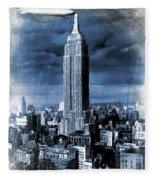 Empire State Building Blimp Docking Blue Fleece Blanket