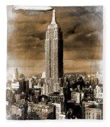 Empire State Building Blimp Docking Sepia Fleece Blanket