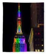 Empire State Building Lit For Gay Pride Fleece Blanket