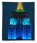 Empire State Building Lit Up At Night Fleece Blanket