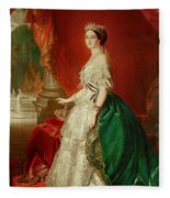 Empress Eugenie Of France 1826-1920 Wife Of Napoleon Bonaparte IIi 1808-73 Oil On Canvas Fleece Blanket