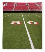 Empty American Football Stadium 50 Yard Line Fleece Blanket