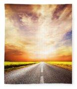 Empty Asphalt Road. Sunset Sky Fleece Blanket
