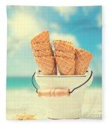 Empty Ice Cream Cones Fleece Blanket
