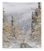 Empty Road Passing Through A Forest Fleece Blanket
