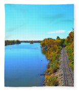 Empty Train Tracks Of Rockford On The Rock River With Fall Colors Fleece Blanket