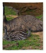 Emu And Chicks Fleece Blanket