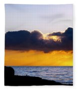 End Of Day On The Pacific Fleece Blanket