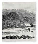 Endpiece, Late 18th Or Early 19th Century Wood Engraving 99;landscape; Winter; Figure; Snow; Snowy; Fleece Blanket