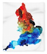 England - Map Of England By Sharon Cummings Fleece Blanket