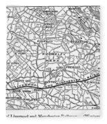 England Railroad Map Fleece Blanket