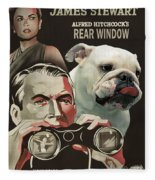 English Bulldog Art Canvas Print - Rear Window Movie Poster Fleece Blanket