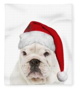 English Bulldog In Christmas Hat Fleece Blanket