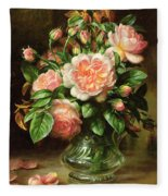 English Elegance Roses In A Glass Fleece Blanket