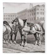 English Farm Horses, 1823 Fleece Blanket