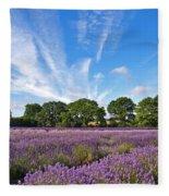 English Lavender Fields In Hampshire Fleece Blanket