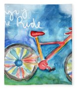 Enjoy The Ride- Colorful Bike Painting Fleece Blanket