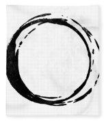 Enso No. 107 Black On White Fleece Blanket