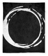 Enso No. 107 White On Black Fleece Blanket by Julie Niemela