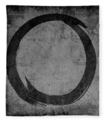 Enso No. 108 Black On Gray Fleece Blanket by Julie Niemela
