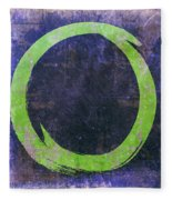 Enso No. 108 Green On Purple Fleece Blanket by Julie Niemela