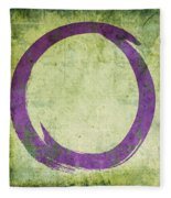 Enso No. 108 Purple On Green Fleece Blanket by Julie Niemela