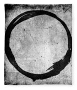 Enso No. 109 Black On White Fleece Blanket by Julie Niemela