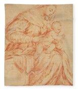 Enthroned Madonna And Child Fleece Blanket